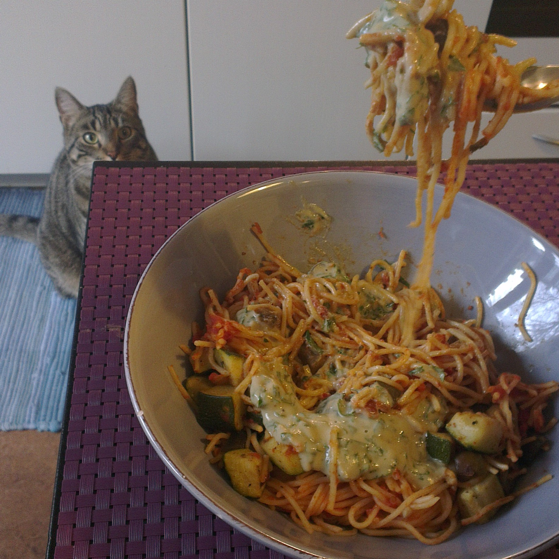 Yesterday's veggie pasta upgraded with 2 spoons of tahini and a cat